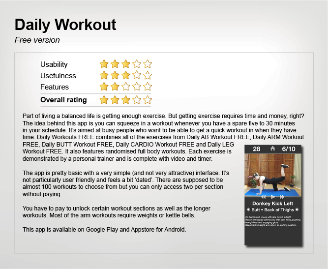 Daily Workout app