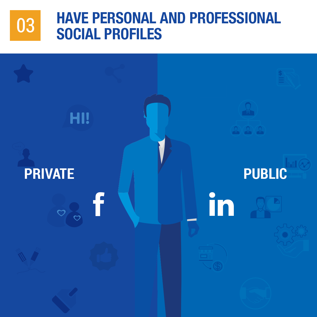 Have personal and professional social profiles